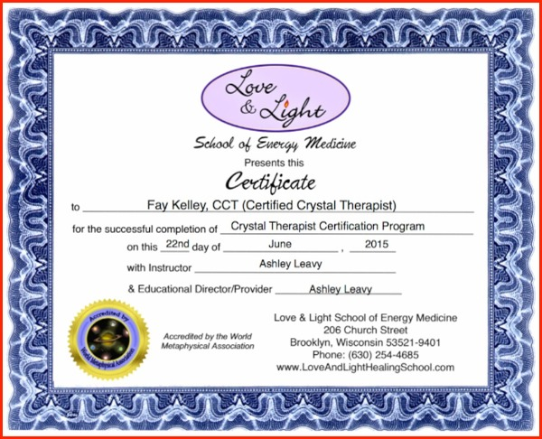 Advanced Crystal Therapist Certificate Fay Kelley.