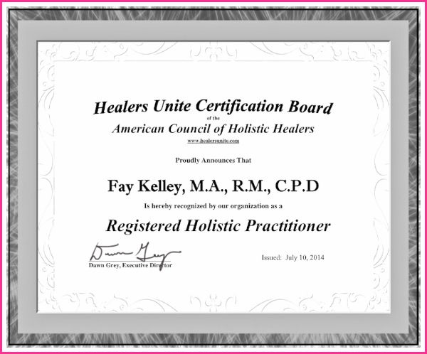 American Council Holistic Healers Certificate Fay Kelley.