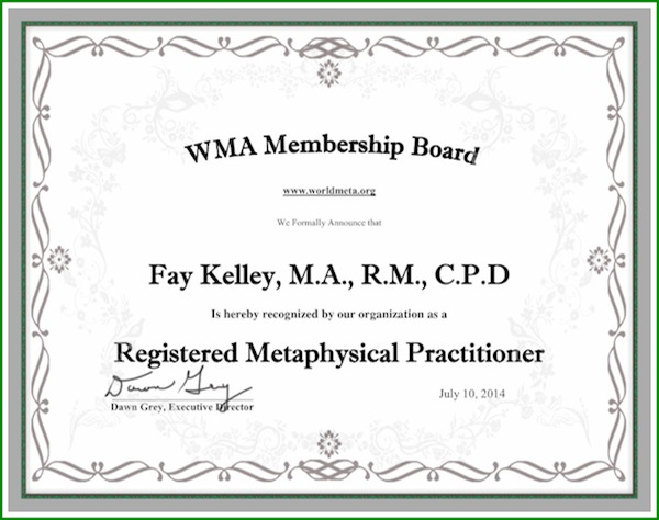World Metaphysical Association Certificate Fay Kelley